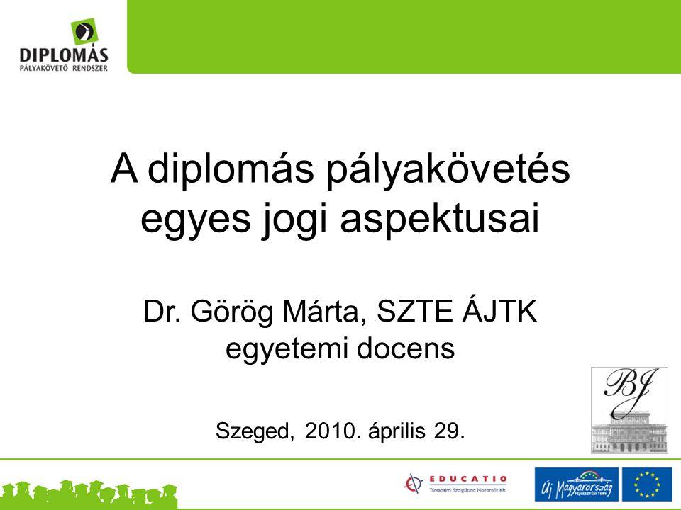 A diplomás pályakövetés egyes jogi aspektusai Dr.