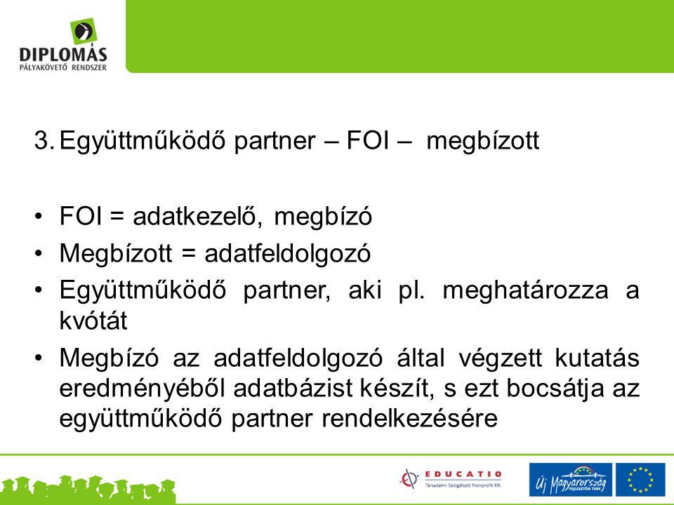 3.Együttműködő partner – FOI – megbízott FOI = adatkezelő, megbízó Megbízott = adatfeldolgozó Együttműködő partner, aki pl.