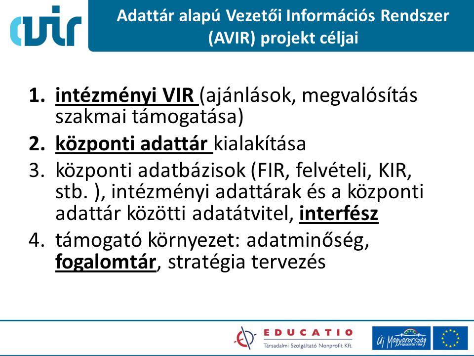Adattár alapú Vezetői Információs Rendszer (AVIR) projekt céljai 1.intézményi VIR (ajánlások, megvalósítás szakmai támogatása) 2.központi adattár kialakítása 3.központi adatbázisok (FIR, felvételi, KIR, stb.