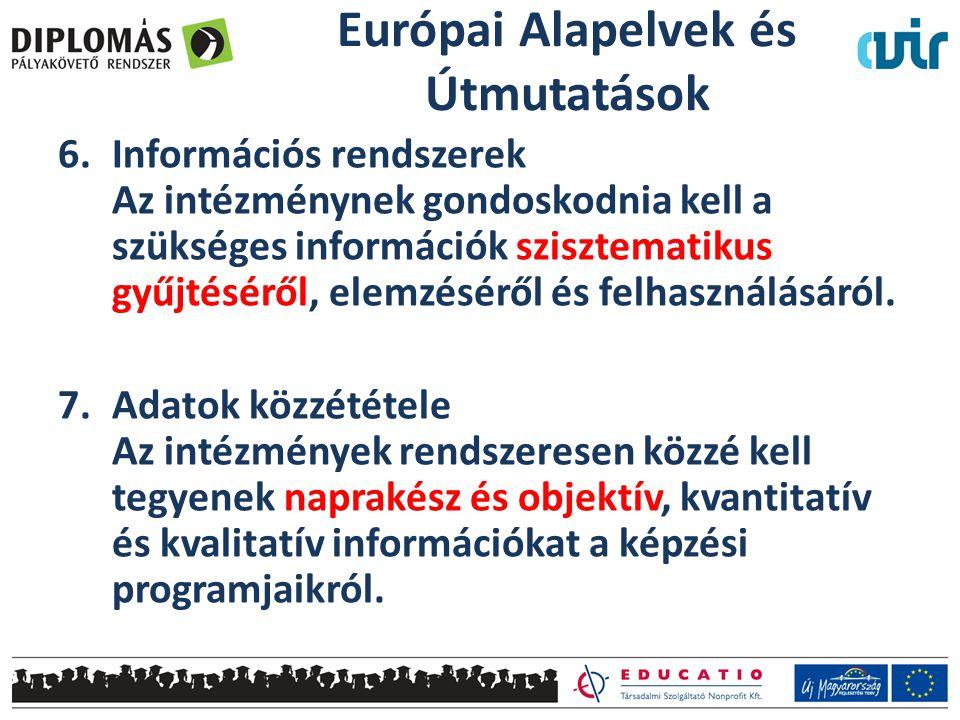 6.Információs rendszerek Az intézménynek gondoskodnia kell a szükséges információk szisztematikus gyűjtéséről, elemzéséről és felhasználásáról.