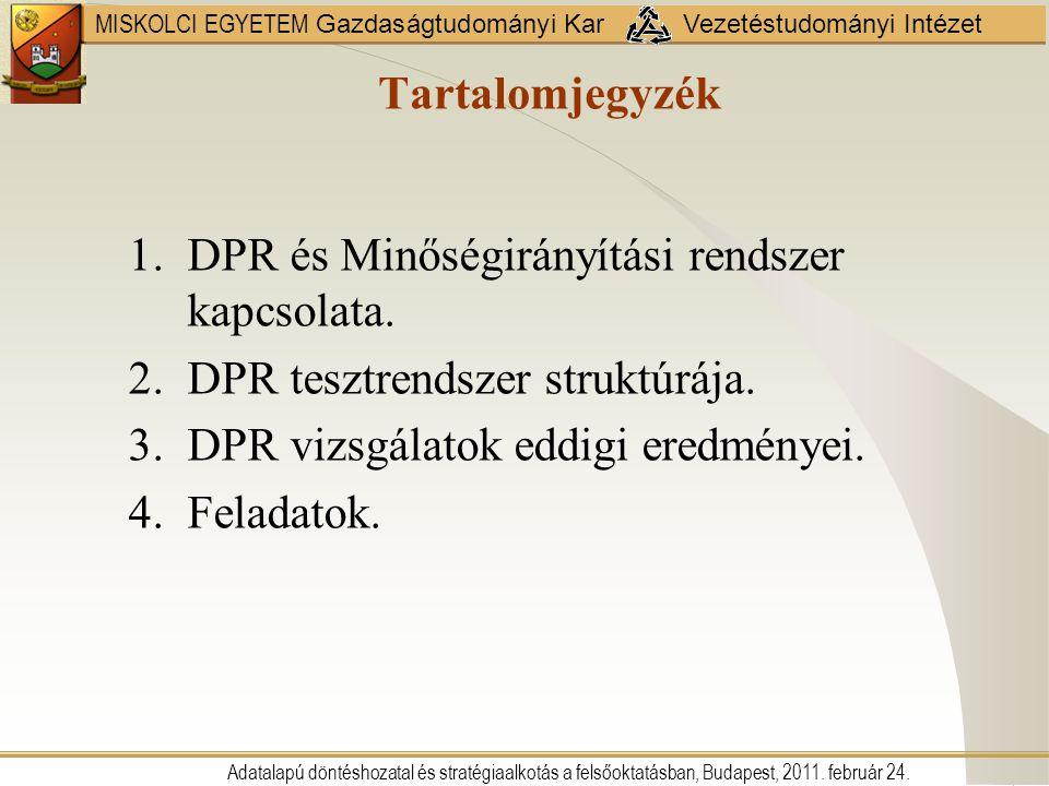 MISKOLCI EGYETEM Gazdaságtudományi Kar Vezetéstudományi Intézet Tartalomjegyzék 1.DPR és Minőségirányítási rendszer kapcsolata. 2.DPR tesztrendszer st