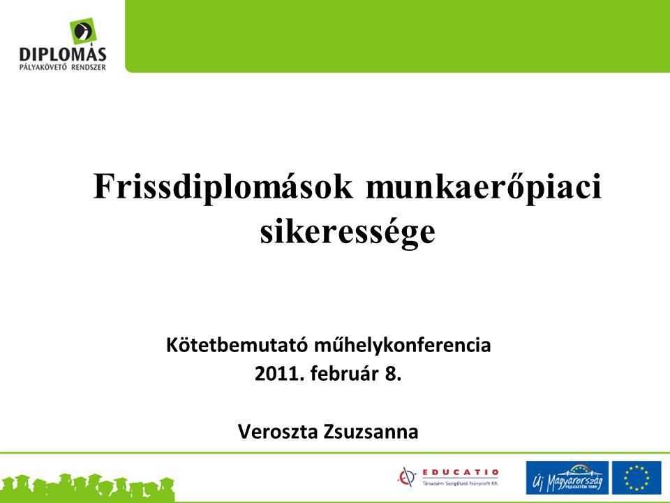Frissdiplomások munkaerőpiaci sikeressége Kötetbemutató műhelykonferencia 2011. február 8. Veroszta Zsuzsanna