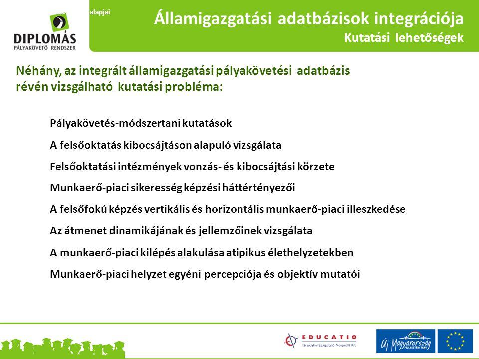 Államigazgatási adatbázisok integrációja Kutatási lehetőségek Néhány, az integrált államigazgatási pályakövetési adatbázis révén vizsgálható kutatási