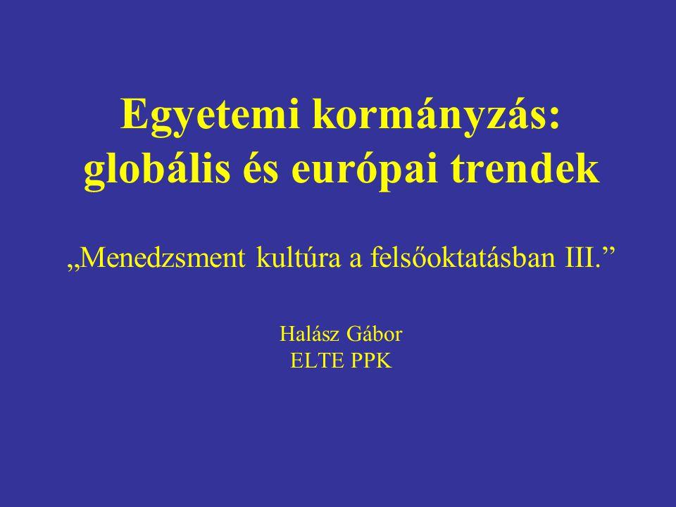 """Egyetemi kormányzás: globális és európai trendek """"Menedzsment kultúra a felsőoktatásban III. Halász Gábor ELTE PPK"""