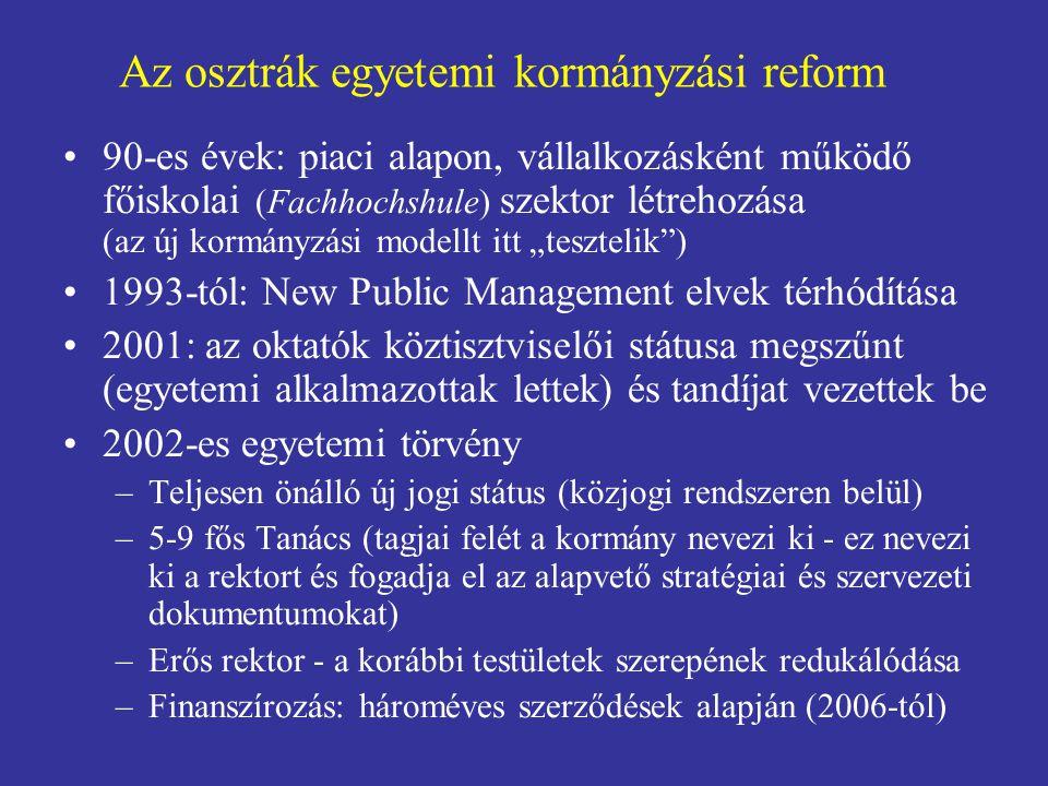 """Az osztrák egyetemi kormányzási reform 90-es évek: piaci alapon, vállalkozásként működő főiskolai (Fachhochshule) szektor létrehozása (az új kormányzási modellt itt """"tesztelik ) 1993-tól: New Public Management elvek térhódítása 2001: az oktatók köztisztviselői státusa megszűnt (egyetemi alkalmazottak lettek) és tandíjat vezettek be 2002-es egyetemi törvény –Teljesen önálló új jogi státus (közjogi rendszeren belül) –5-9 fős Tanács (tagjai felét a kormány nevezi ki - ez nevezi ki a rektort és fogadja el az alapvető stratégiai és szervezeti dokumentumokat) –Erős rektor - a korábbi testületek szerepének redukálódása –Finanszírozás: hároméves szerződések alapján (2006-tól)"""