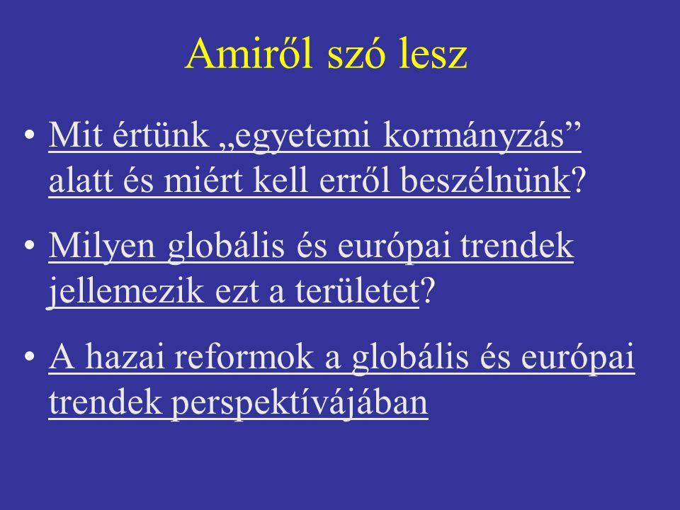 """Amiről szó lesz Mit értünk """"egyetemi kormányzás alatt és miért kell erről beszélnünk?Mit értünk """"egyetemi kormányzás alatt és miért kell erről beszélnünk Milyen globális és európai trendek jellemezik ezt a területet?Milyen globális és európai trendek jellemezik ezt a területet A hazai reformok a globális és európai trendek perspektívájábanA hazai reformok a globális és európai trendek perspektívájában"""