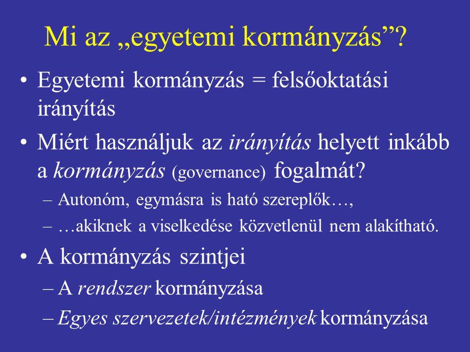 """Mi az """"egyetemi kormányzás""""? Egyetemi kormányzás = felsőoktatási irányítás Miért használjuk az irányítás helyett inkább a kormányzás (governance) foga"""