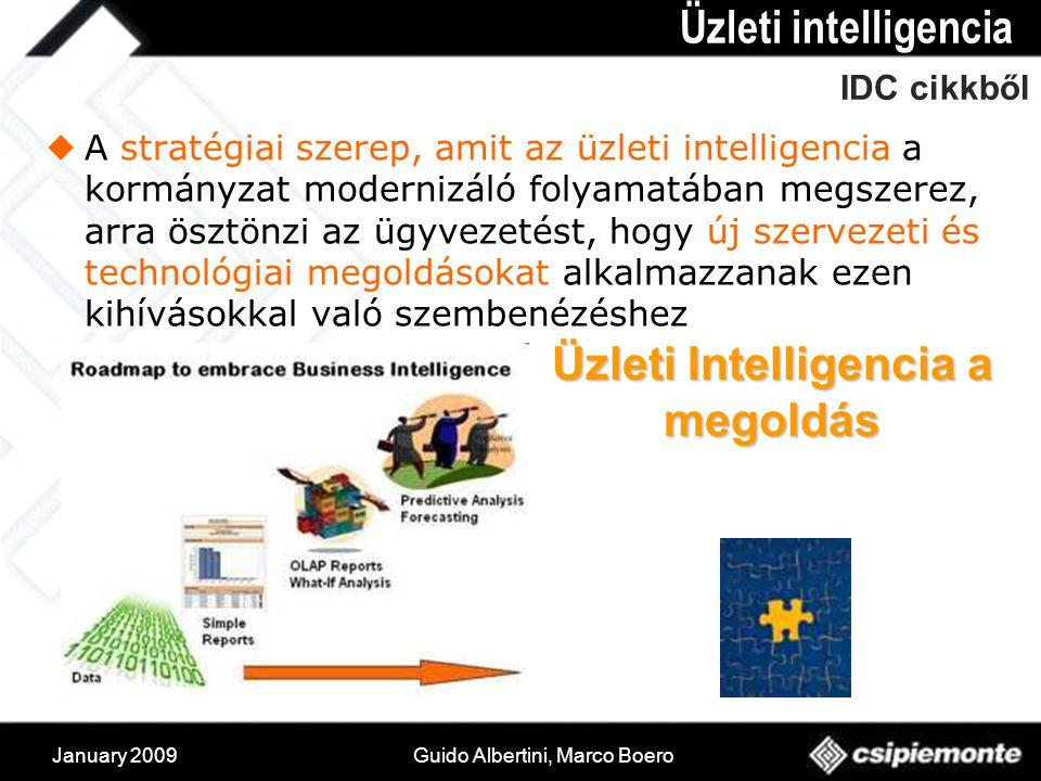 January 2009Guido Albertini, Marco Boero IDC cikkből  A stratégiai szerep, amit az üzleti intelligencia a kormányzat modernizáló folyamatában megszerez, arra ösztönzi az ügyvezetést, hogy új szervezeti és technológiai megoldásokat alkalmazzanak ezen kihívásokkal való szembenézéshez Üzleti intelligencia Üzleti Intelligencia a megoldás