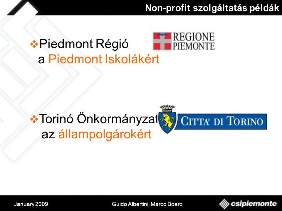 January 2009Guido Albertini, Marco Boero Non-profit szolgáltatás példák  Piedmont Régió a Piedmont Iskolákért  Torinó Önkormányzat az állampolgárokért