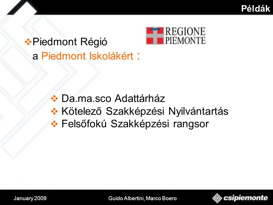 January 2009Guido Albertini, Marco Boero Példák  Piedmont Régió a Piedmont Iskolákért :  Da.ma.sco Adattárház  Kötelező Szakképzési Nyilvántartás  Felsőfokú Szakképzési rangsor