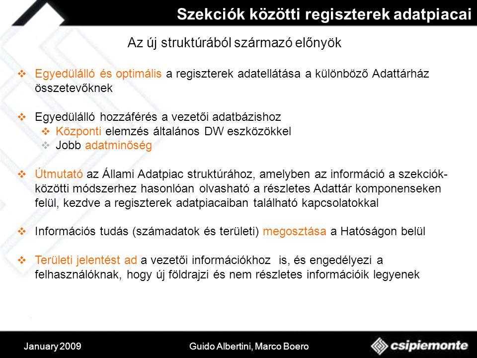 January 2009Guido Albertini, Marco Boero Az új struktúrából származó előnyök  Egyedülálló és optimális a regiszterek adatellátása a különböző Adattárház összetevőknek  Egyedülálló hozzáférés a vezetői adatbázishoz  Központi elemzés általános DW eszközökkel  Jobb adatminőség  Útmutató az Állami Adatpiac struktúrához, amelyben az információ a szekciók- közötti módszerhez hasonlóan olvasható a részletes Adattár komponenseken felül, kezdve a regiszterek adatpiacaiban található kapcsolatokkal  Információs tudás (számadatok és területi) megosztása a Hatóságon belül  Területi jelentést ad a vezetői információkhoz is, és engedélyezi a felhasználóknak, hogy új földrajzi és nem részletes információik legyenek Szekciók közötti regiszterek adatpiacai