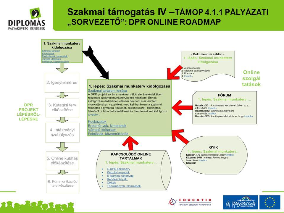 """Szakmai támogatás IV – TÁMOP 4.1.1 PÁLYÁZATI """"SORVEZETŐ"""": DPR ONLINE ROADMAP"""