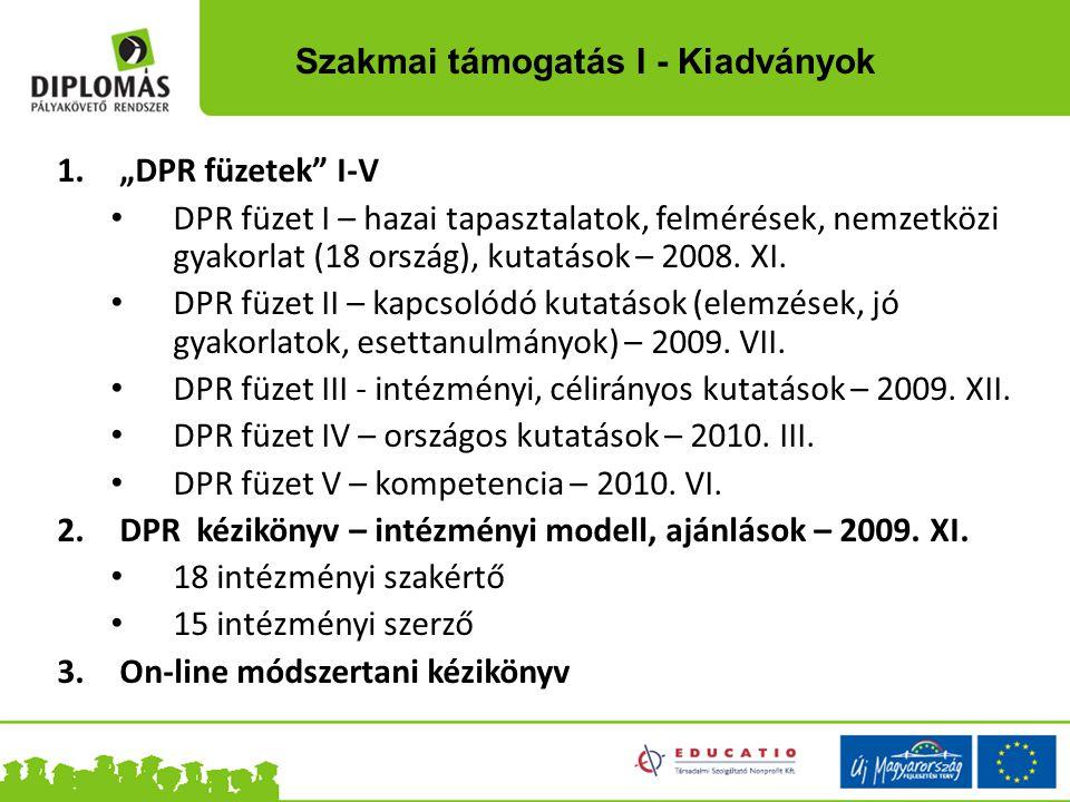 """1.""""DPR füzetek"""" I-V DPR füzet I – hazai tapasztalatok, felmérések, nemzetközi gyakorlat (18 ország), kutatások – 2008. XI. DPR füzet II – kapcsolódó k"""