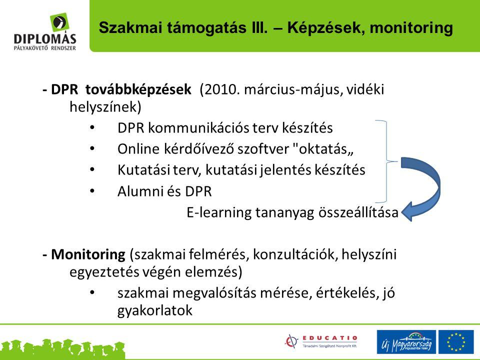 Szakmai támogatás III. – Képzések, monitoring - DPR továbbképzések (2010. március-május, vidéki helyszínek) DPR kommunikációs terv készítés Online kér