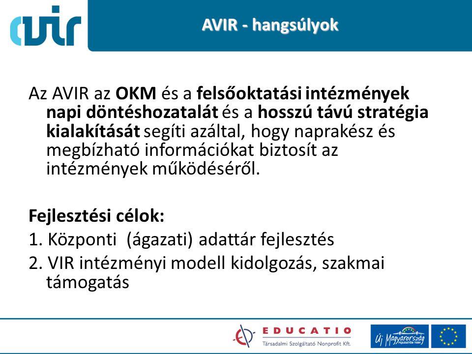 AVIR - hangsúlyok Az AVIR az OKM és a felsőoktatási intézmények napi döntéshozatalát és a hosszú távú stratégia kialakítását segíti azáltal, hogy naprakész és megbízható információkat biztosít az intézmények működéséről.