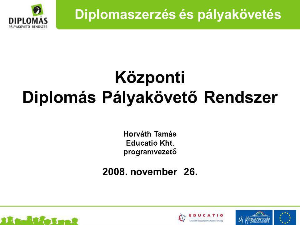 Központi Diplomás Pályakövető Rendszer Horváth Tamás Educatio Kht.