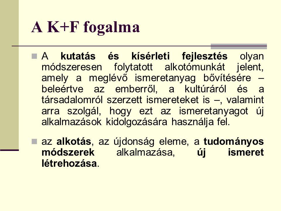 A K+F fogalma A kutatás és kísérleti fejlesztés olyan módszeresen folytatott alkotómunkát jelent, amely a meglévő ismeretanyag bővítésére – beleértve