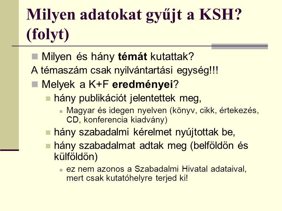 Milyen adatokat gyűjt a KSH? (folyt) Milyen és hány témát kutattak? A témaszám csak nyilvántartási egység!!! Melyek a K+F eredményei? hány publikációt