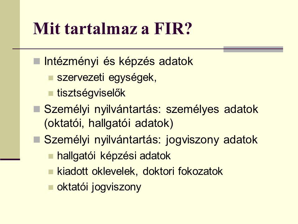 Mit tartalmaz a FIR? Intézményi és képzés adatok szervezeti egységek, tisztségviselők Személyi nyilvántartás: személyes adatok (oktatói, hallgatói ada