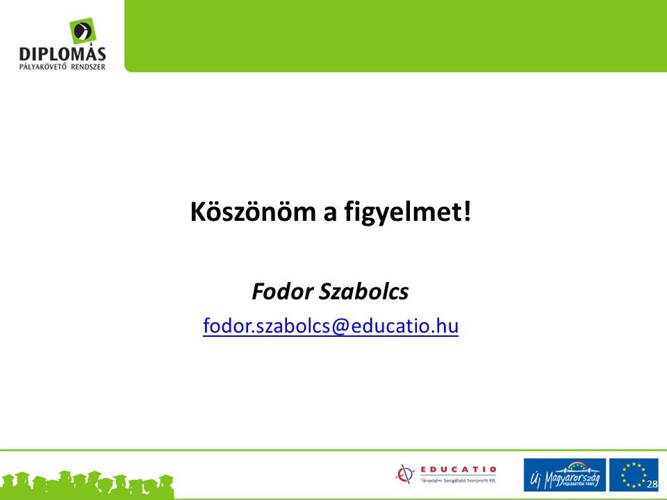 28 Köszönöm a figyelmet! Fodor Szabolcs fodor.szabolcs@educatio.hu