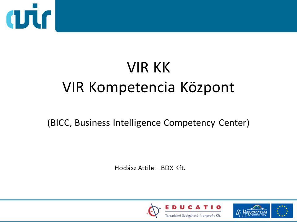VIR KK VIR Kompetencia Központ (BICC, Business Intelligence Competency Center) Hodász Attila – BDX Kft.