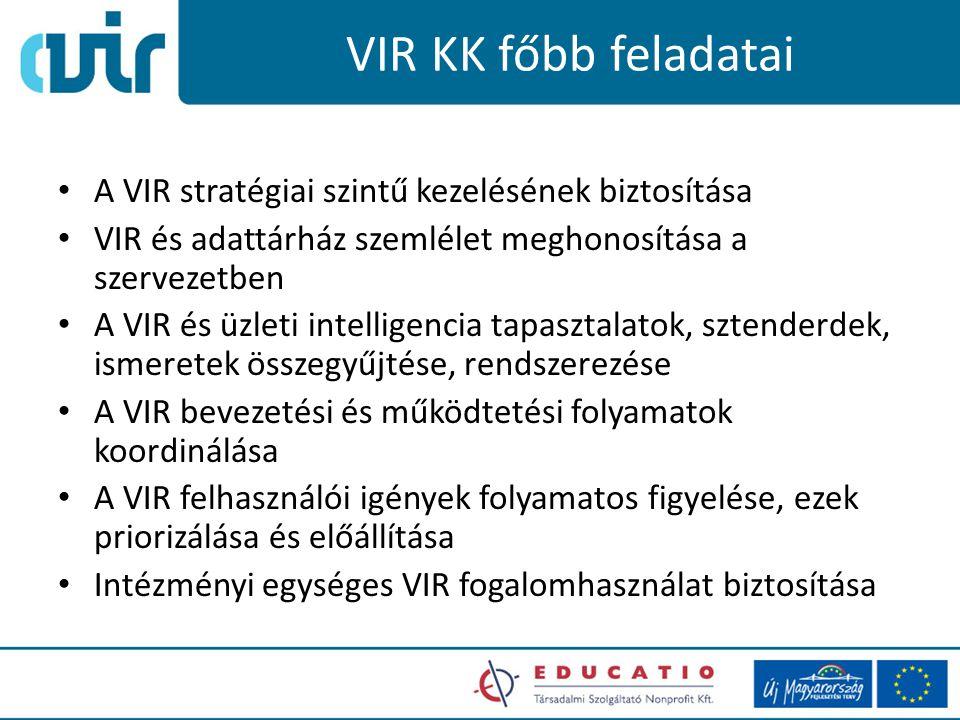 VIR KK megközelítések Megközelítés1: magas szintű tanácsadói és felügyelői szerepet tölt be a szervezeti VIR törekvések fellett – projekt terv sablonok, standardok – speciális tudások és képességek területén támogatást biztosít – program és adat minőség koordinációt lát el – oktatási folyamatok koordinálása 2010.10.12.5
