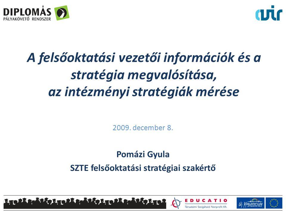A felsőoktatási vezetői információk és a stratégia megvalósítása, az intézményi stratégiák mérése 2009. december 8. Pomázi Gyula SZTE felsőoktatási st