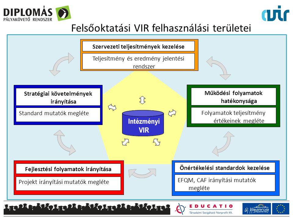 Felsőoktatási VIR felhasználási területei Működési folyamatok hatékonysága Folyamatok teljesítmény értékeinek megléte Fejlesztési folyamatok irányítása Projekt irányítási mutatók megléte Szervezeti teljesítmények kezelése Teljesítmény és eredmény jelentési rendszer Stratégiai követelmények irányítása Standard mutatók megléte Önértékelési standardok kezelése EFQM, CAF irányítási mutatók megléte Intézményi VIR