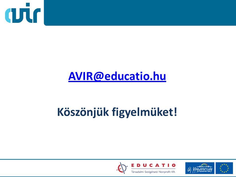 AVIR@educatio.hu Köszönjük figyelmüket!