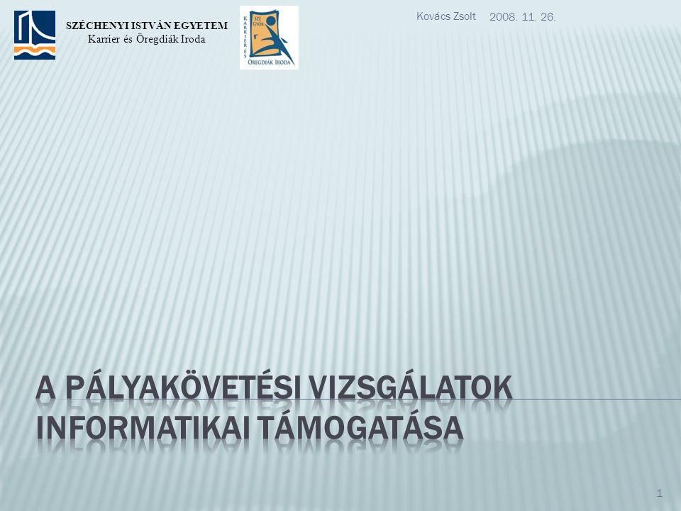 2008. 11. 26. Kovács Zsolt 1 SZÉCHENYI ISTVÁN EGYETEM Karrier és Öregdiák Iroda