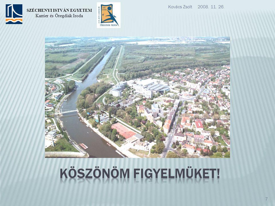 2008. 11. 26.Kovács Zsolt 7 SZÉCHENYI ISTVÁN EGYETEM Karrier és Öregdiák Iroda