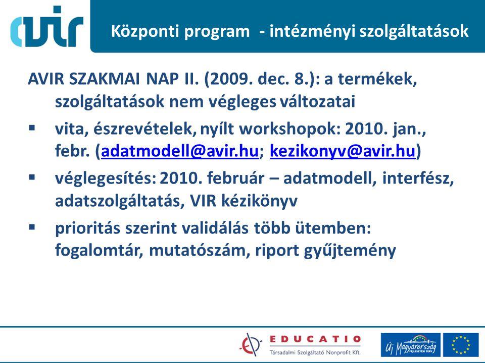 Központi program - intézményi szolgáltatások AVIR SZAKMAI NAP II.