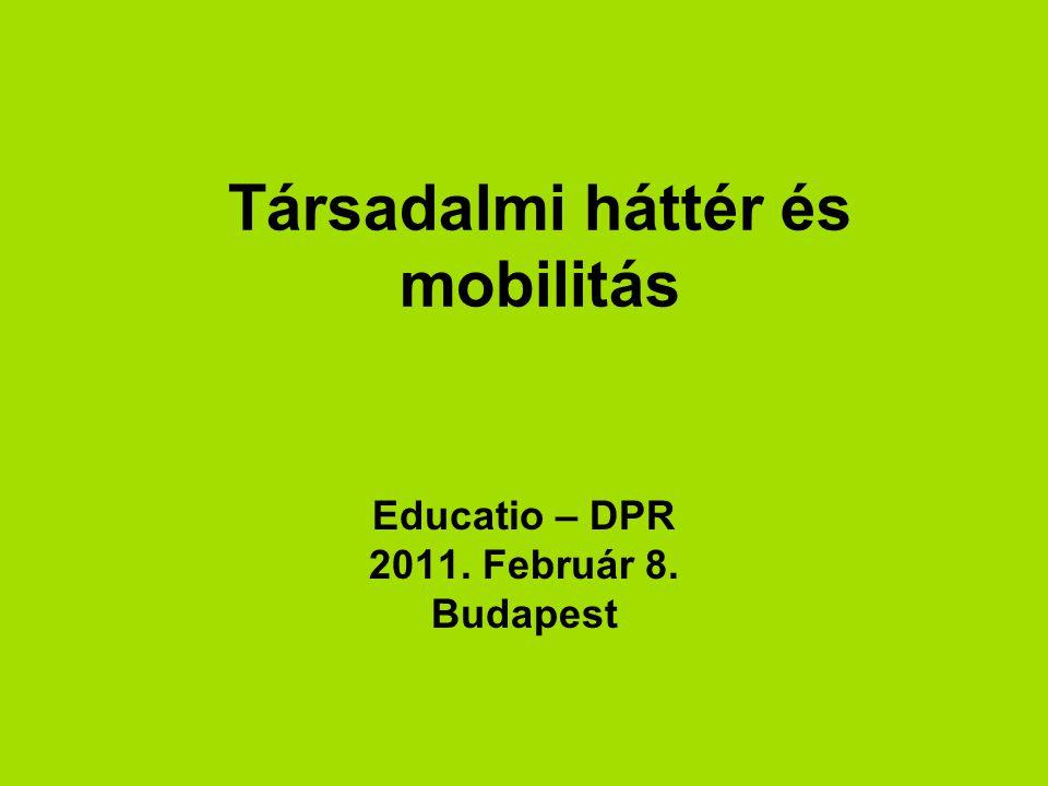 Társadalmi háttér és mobilitás Educatio – DPR 2011. Február 8. Budapest