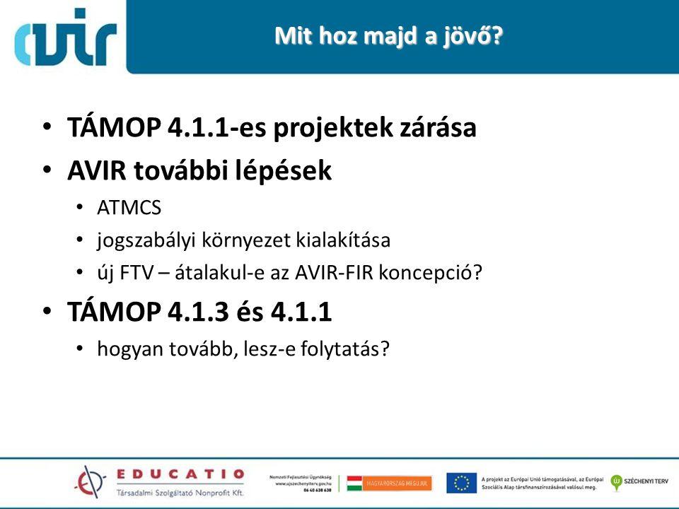Mit hoz majd a jövő? TÁMOP 4.1.1-es projektek zárása AVIR további lépések ATMCS jogszabályi környezet kialakítása új FTV – átalakul-e az AVIR-FIR konc