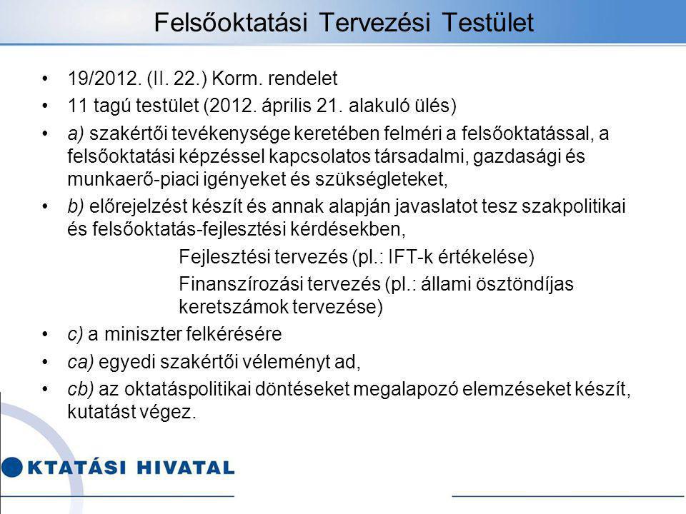 Felsőoktatási Tervezési Testület 19/2012.(II. 22.) Korm.