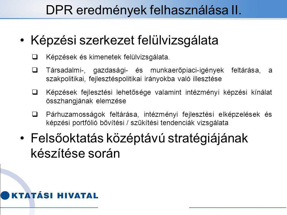 DPR eredmények felhasználása II.