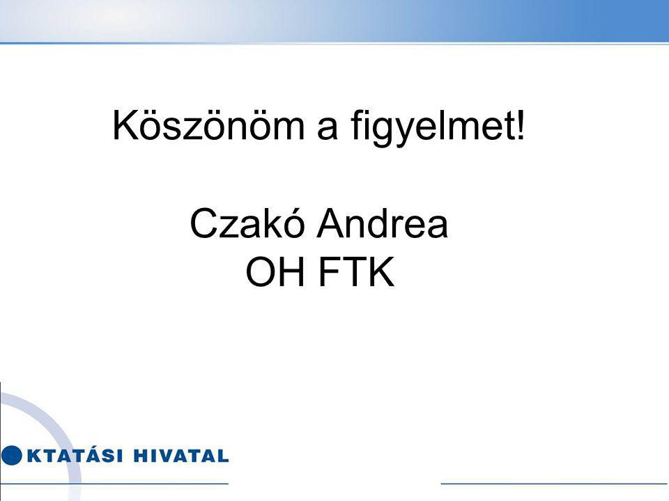 Köszönöm a figyelmet! Czakó Andrea OH FTK