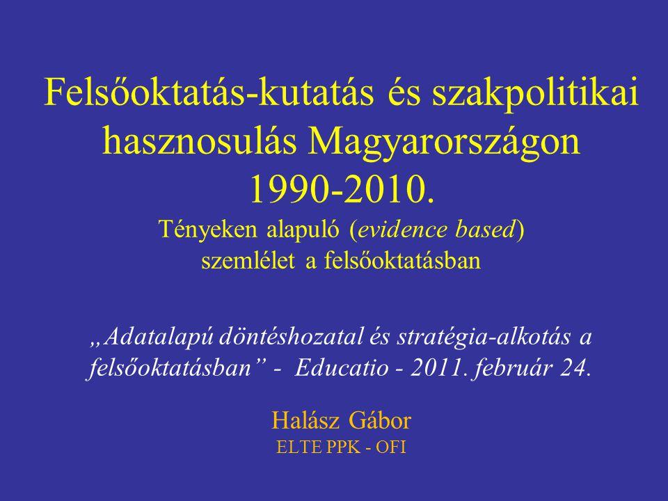 """Felsőoktatás-kutatás és szakpolitikai hasznosulás Magyarországon 1990-2010. Tényeken alapuló (evidence based) szemlélet a felsőoktatásban """"Adatalapú d"""