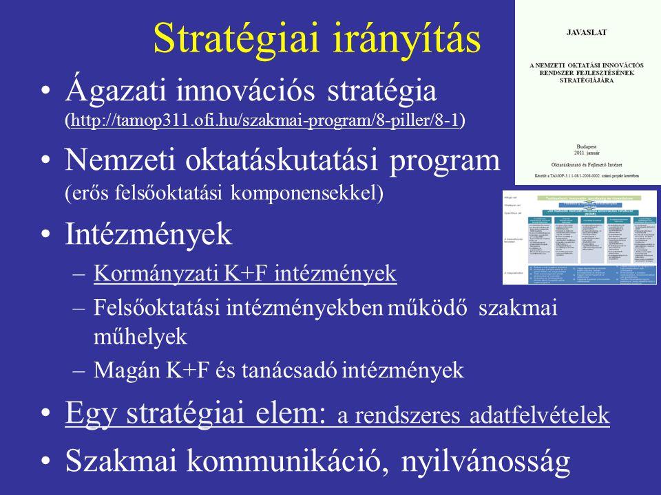 Stratégiai irányítás Ágazati innovációs stratégia (http://tamop311.ofi.hu/szakmai-program/8-piller/8-1)http://tamop311.ofi.hu/szakmai-program/8-piller/8-1 Nemzeti oktatáskutatási program (erős felsőoktatási komponensekkel) Intézmények –Kormányzati K+F intézményekKormányzati K+F intézmények –Felsőoktatási intézményekben működő szakmai műhelyek –Magán K+F és tanácsadó intézmények Egy stratégiai elem: a rendszeres adatfelvételekEgy stratégiai elem: a rendszeres adatfelvételek Szakmai kommunikáció, nyilvánosság