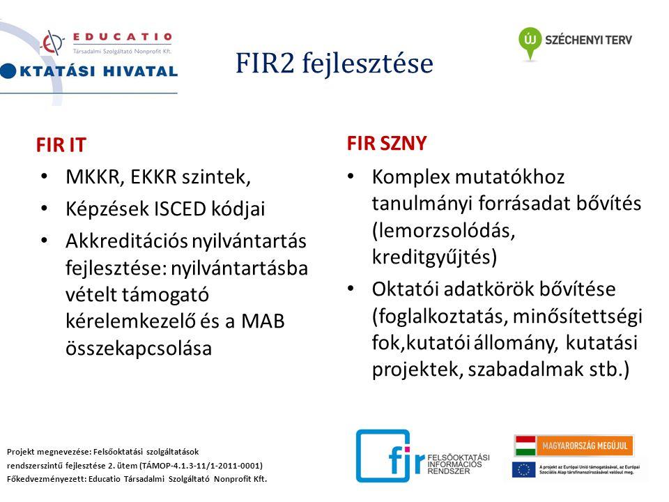FIR2 fejlesztése Projekt megnevezése: Felsőoktatási szolgáltatások rendszerszintű fejlesztése 2.