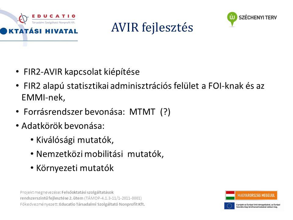 AVIR fejlesztés Projekt megnevezése: Felsőoktatási szolgáltatások rendszerszintű fejlesztése 2.