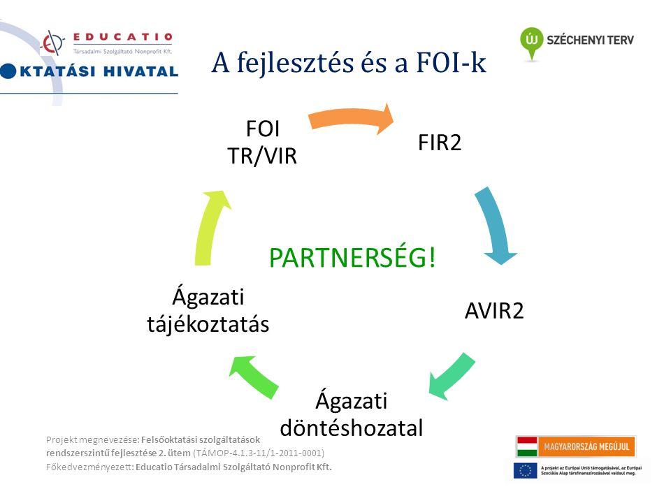 A fejlesztés és a FOI-k Projekt megnevezése: Felsőoktatási szolgáltatások rendszerszintű fejlesztése 2.