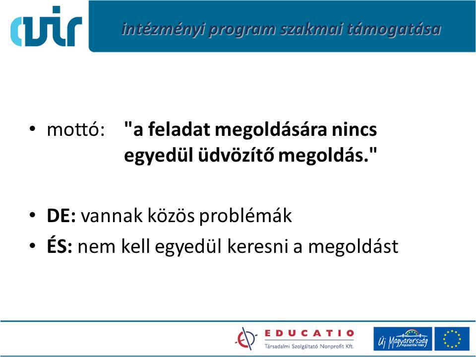 intézményi program szakmai támogatása mottó: a feladat megoldására nincs egyedül üdvözítő megoldás. DE: vannak közös problémák ÉS: nem kell egyedül keresni a megoldást