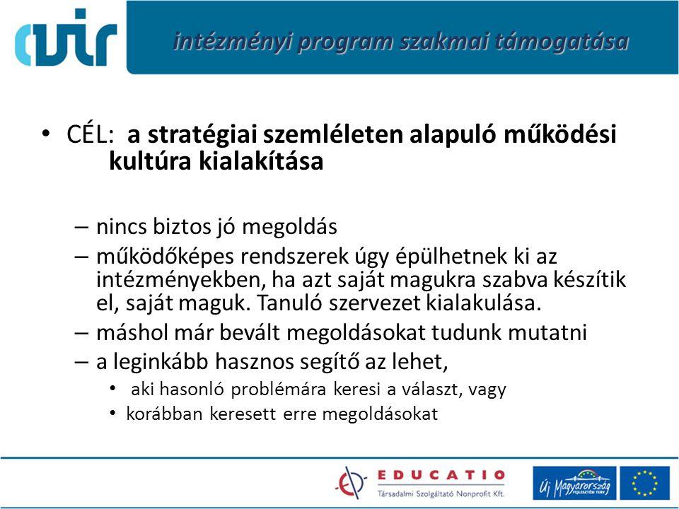 intézményi program szakmai támogatása CÉL: a stratégiai szemléleten alapuló működési kultúra kialakítása – nincs biztos jó megoldás – működőképes rend