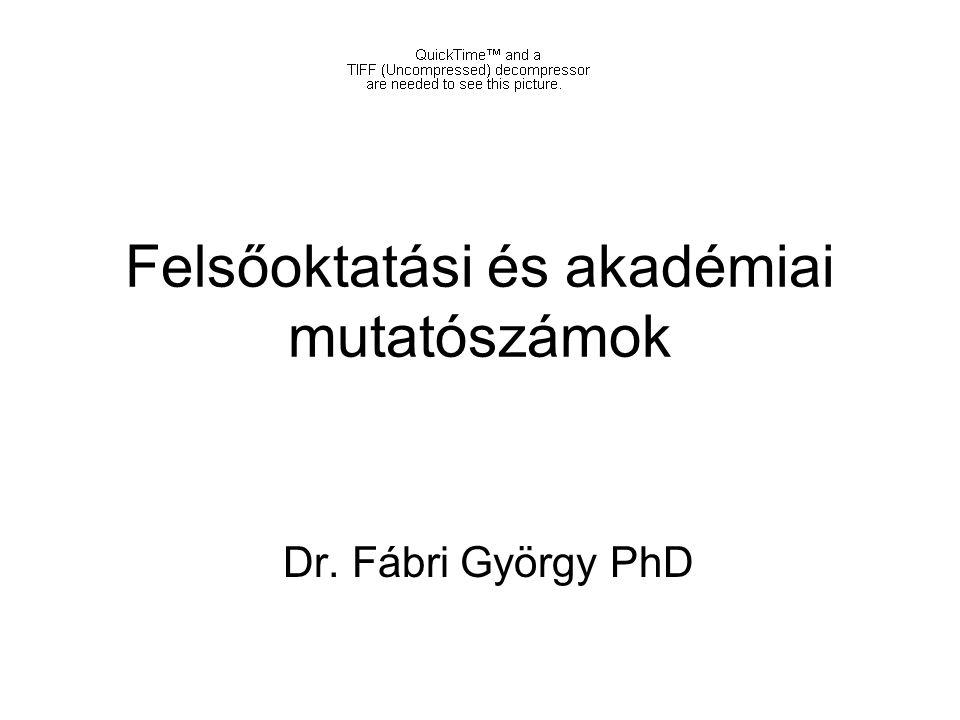 Felsőoktatási és akadémiai mutatószámok Dr. Fábri György PhD