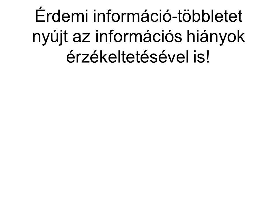 Érdemi információ-többletet nyújt az információs hiányok érzékeltetésével is!