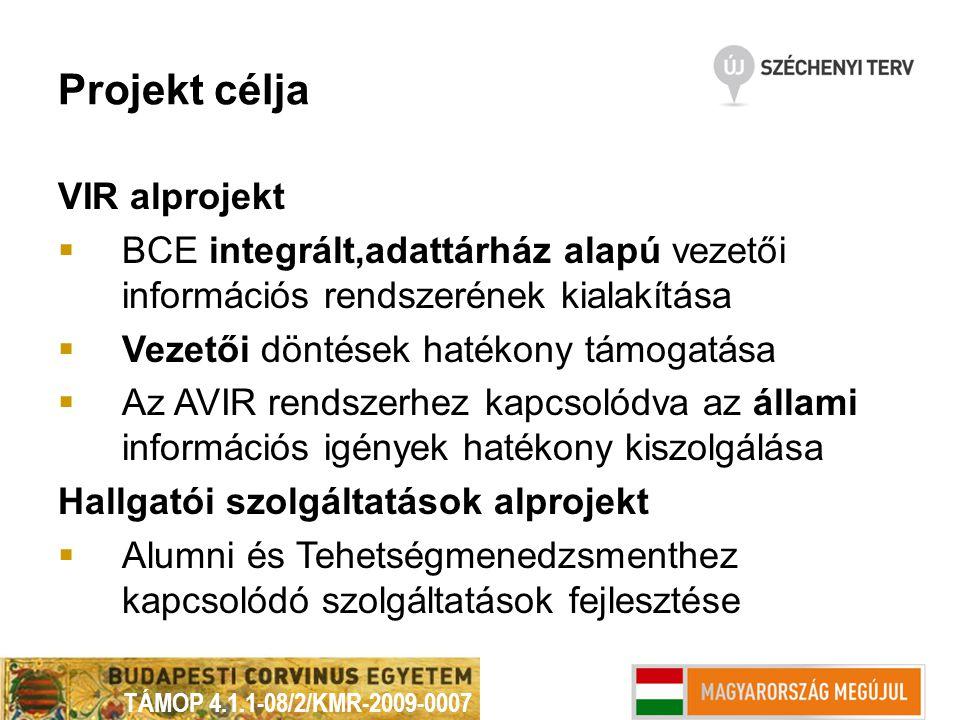 Projekt célja VIR alprojekt  BCE integrált,adattárház alapú vezetői információs rendszerének kialakítása  Vezetői döntések hatékony támogatása  Az