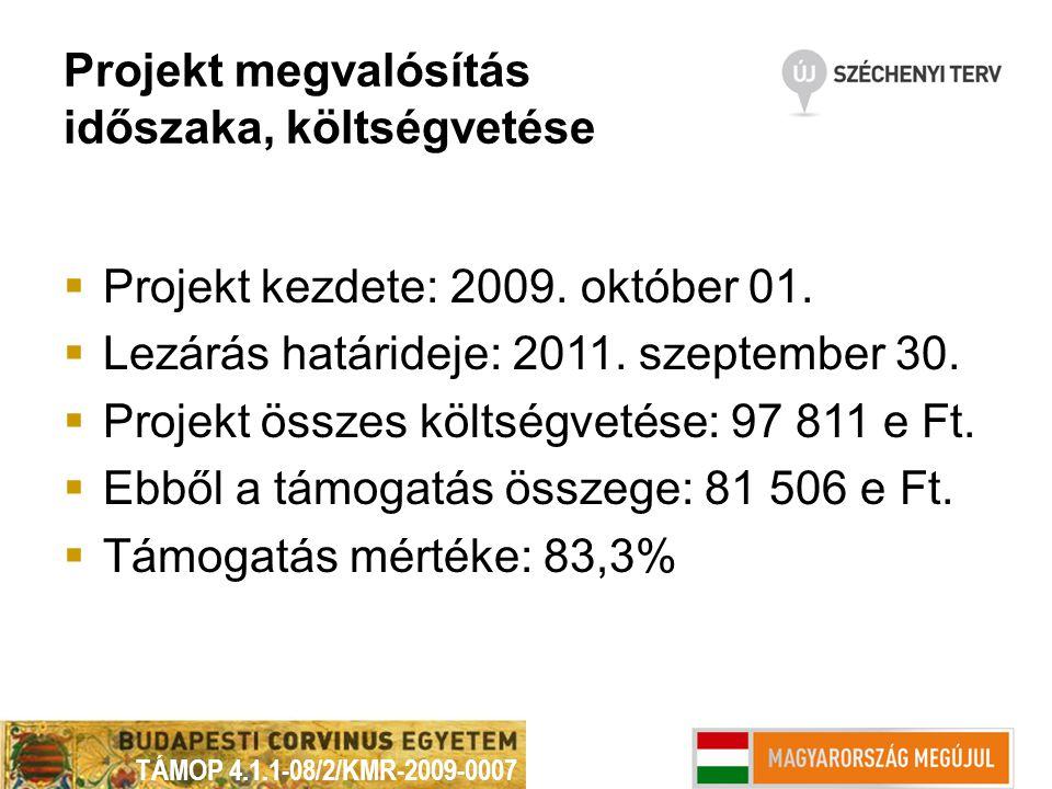 Projekt megvalósítás időszaka, költségvetése  Projekt kezdete: 2009. október 01.  Lezárás határideje: 2011. szeptember 30.  Projekt összes költségv