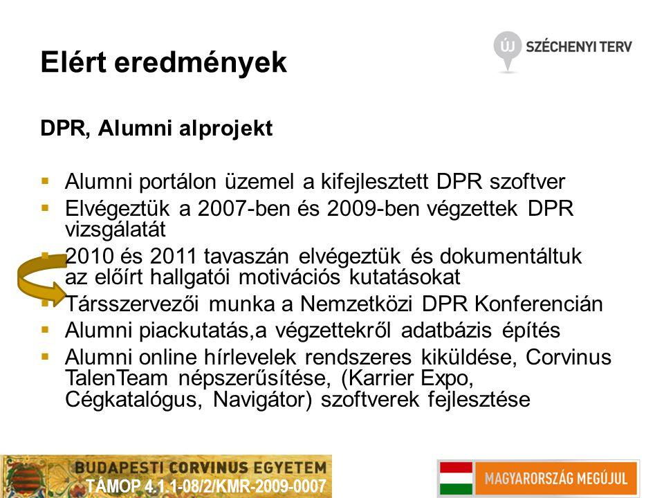 Elért eredmények DPR, Alumni alprojekt  Alumni portálon üzemel a kifejlesztett DPR szoftver  Elvégeztük a 2007-ben és 2009-ben végzettek DPR vizsgál
