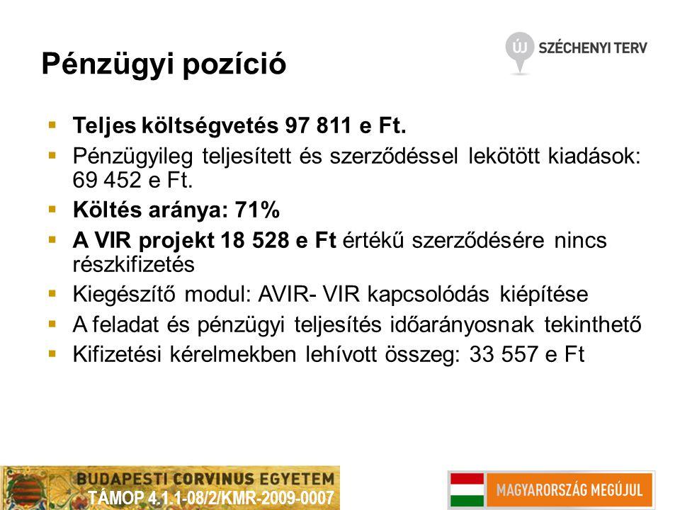 Pénzügyi pozíció  Teljes költségvetés 97 811 e Ft.